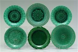 1204 Six green glazed majolica plates