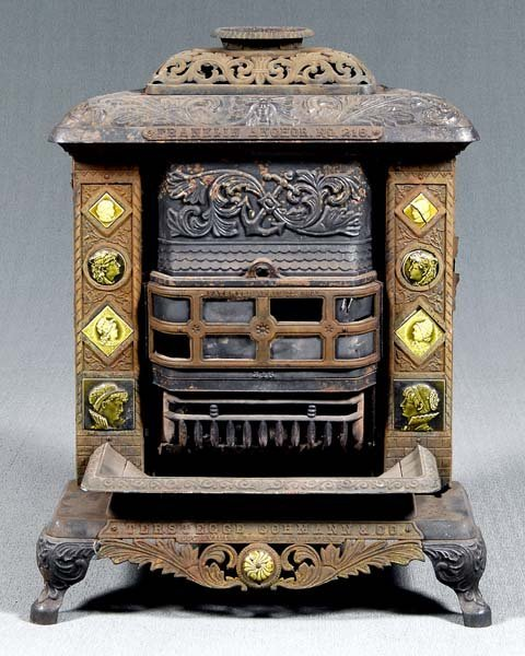 3: Iron and tile Franklin stove,
