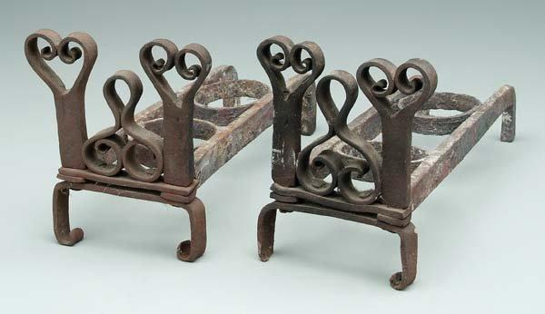 5: Pair hand wrought iron andirons: