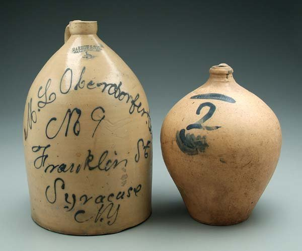 8: Two salt glazed stoneware jugs: