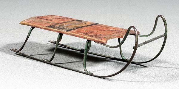 14: Painted wood and iron sled,