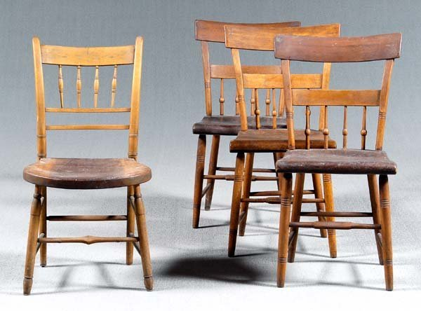 21: Four 19th century Windsor chairs: