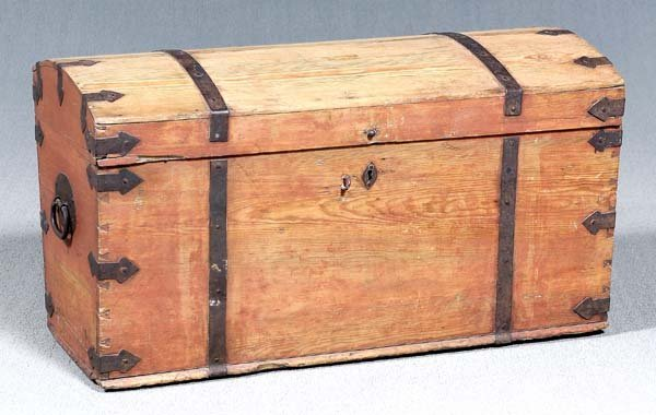 22: Iron-mounted pine dome-top trunk,