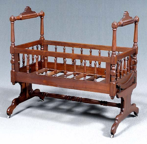 24: Victorian walnut cradle,
