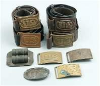 750 Eight brass US belt buckles