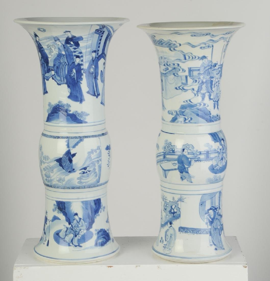 Two Gu Form Blue and White Vases - 2