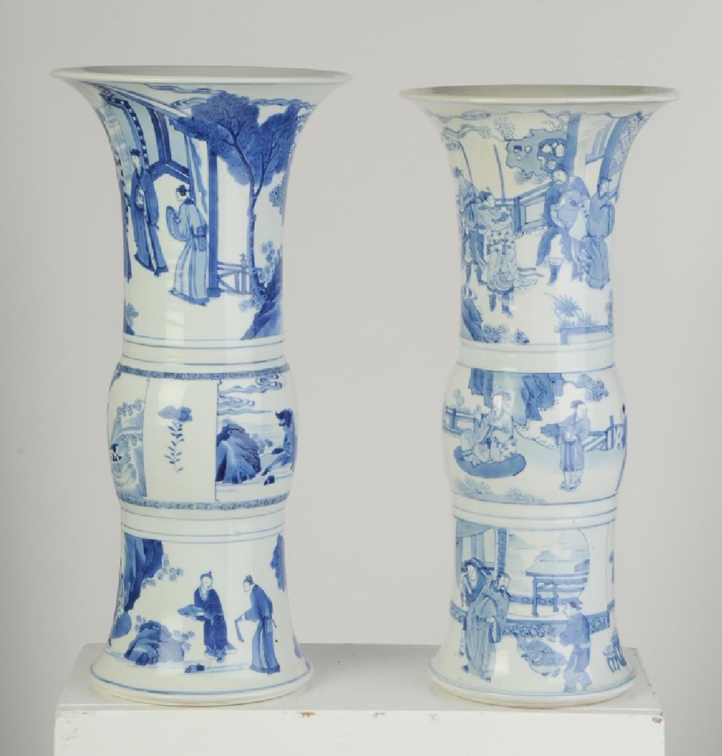 Two Gu Form Blue and White Vases - 3