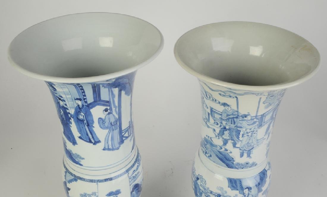 Two Gu Form Blue and White Vases - 4