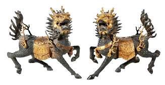Pair of Gilt Bronze Qilin