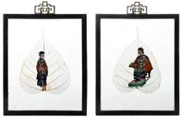Two Similar Chinese Framed Lotus Leaf Paintings