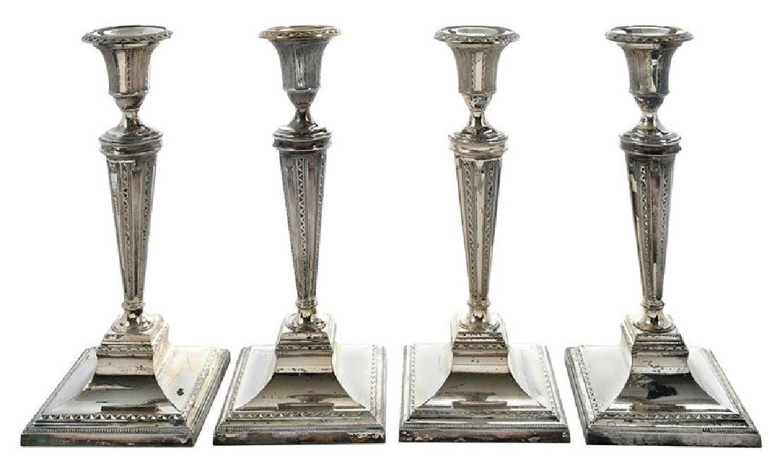 Set of Four Silver-Plate Candlesticks