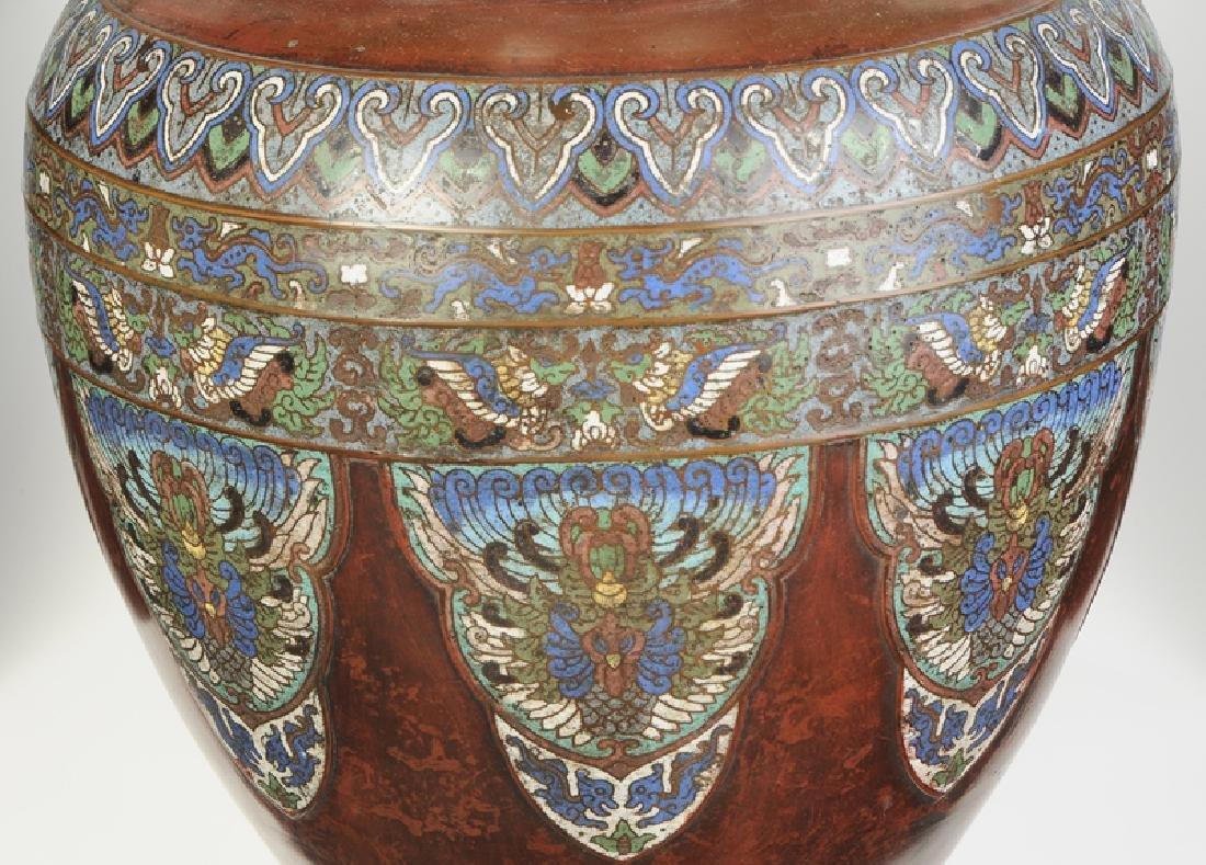 Monumental Chinese Champlevé Floor Vase - 3