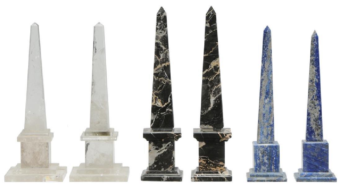 Six Grand Tour Rock Crystal and Stone Obelisks