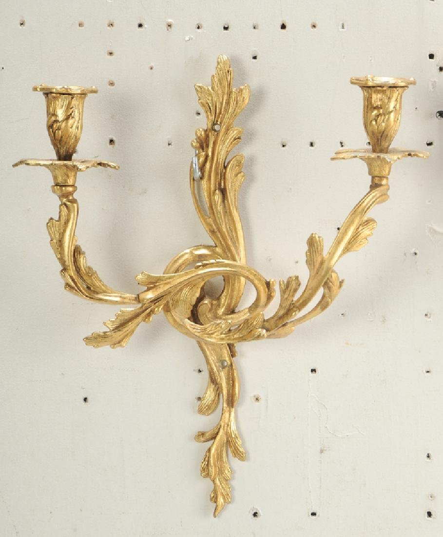 Three Pairs Louis Style Gilt Bronze Wall Lights - 3
