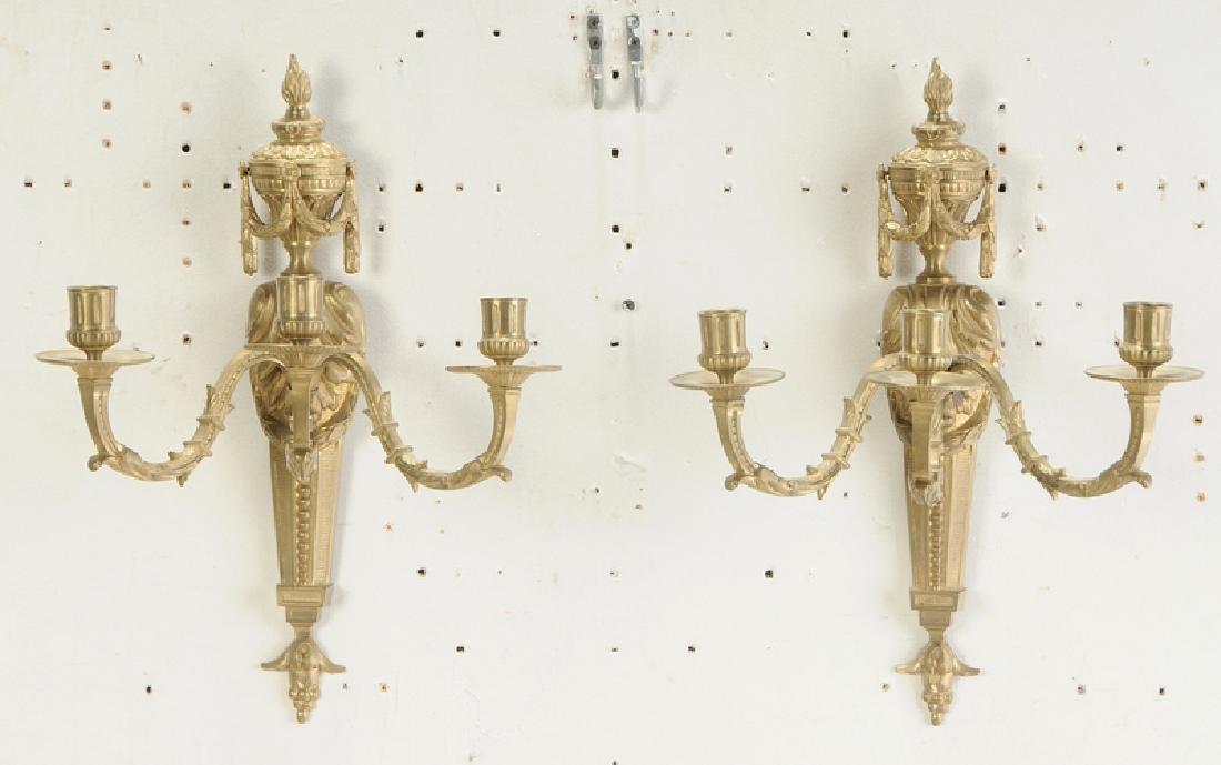 Three Pairs Louis Style Gilt Bronze Wall Lights - 6