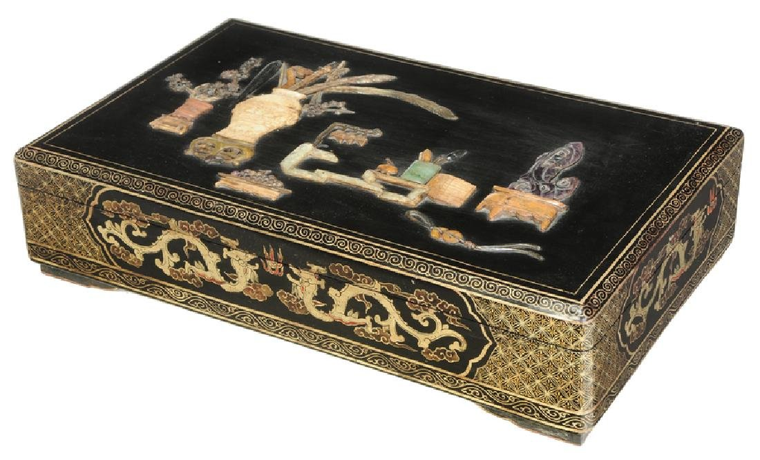 A Large Chinese Gem Inlaid Lacquer Box