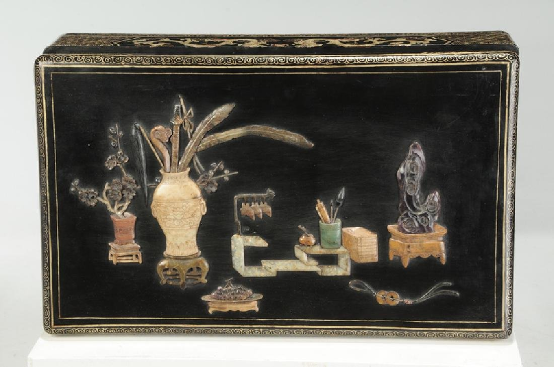 A Large Chinese Gem Inlaid Lacquer Box - 2
