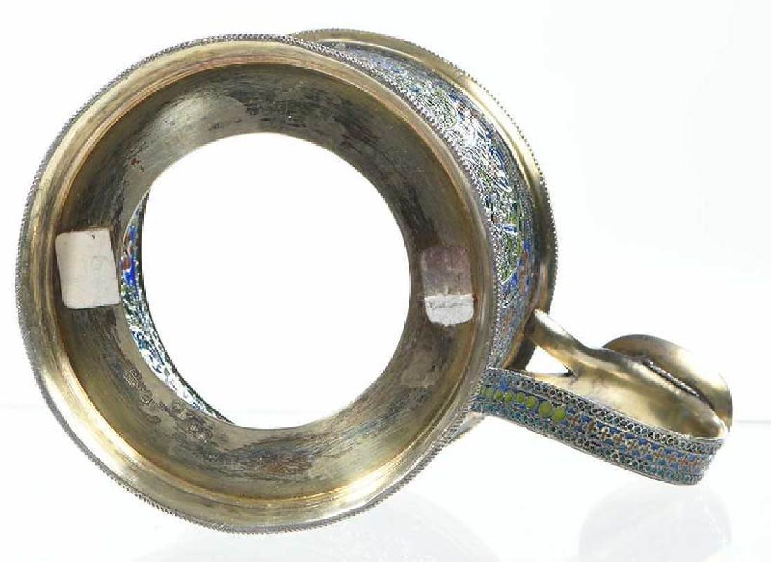 Ovchinnikov Russian Silver Plique-à-Jour Glass Holder - 10