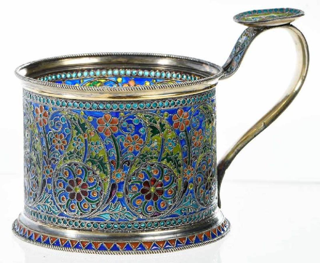 Ovchinnikov Russian Silver Plique-à-Jour Glass Holder - 2