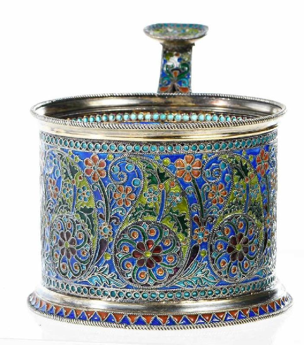 Ovchinnikov Russian Silver Plique-à-Jour Glass Holder - 3