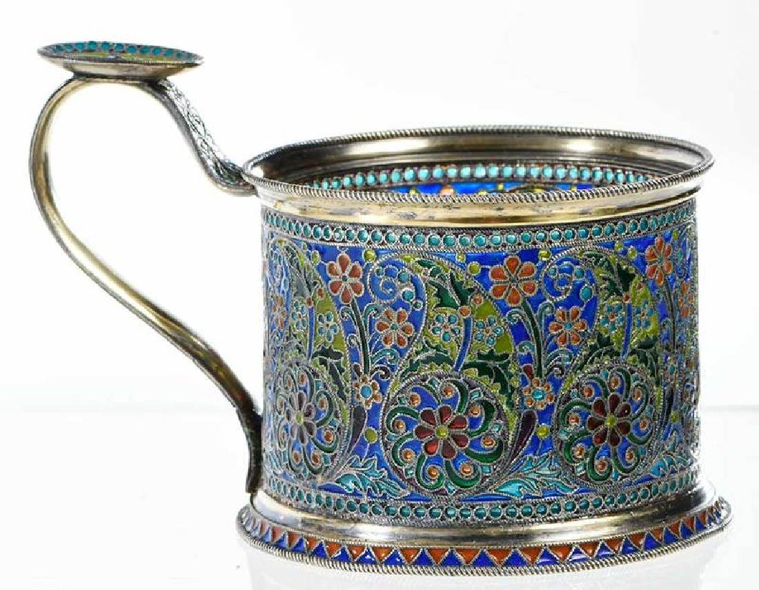 Ovchinnikov Russian Silver Plique-à-Jour Glass Holder - 4