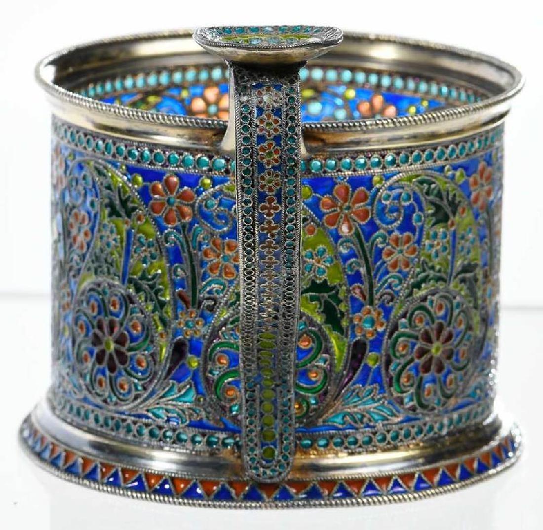 Ovchinnikov Russian Silver Plique-à-Jour Glass Holder - 5