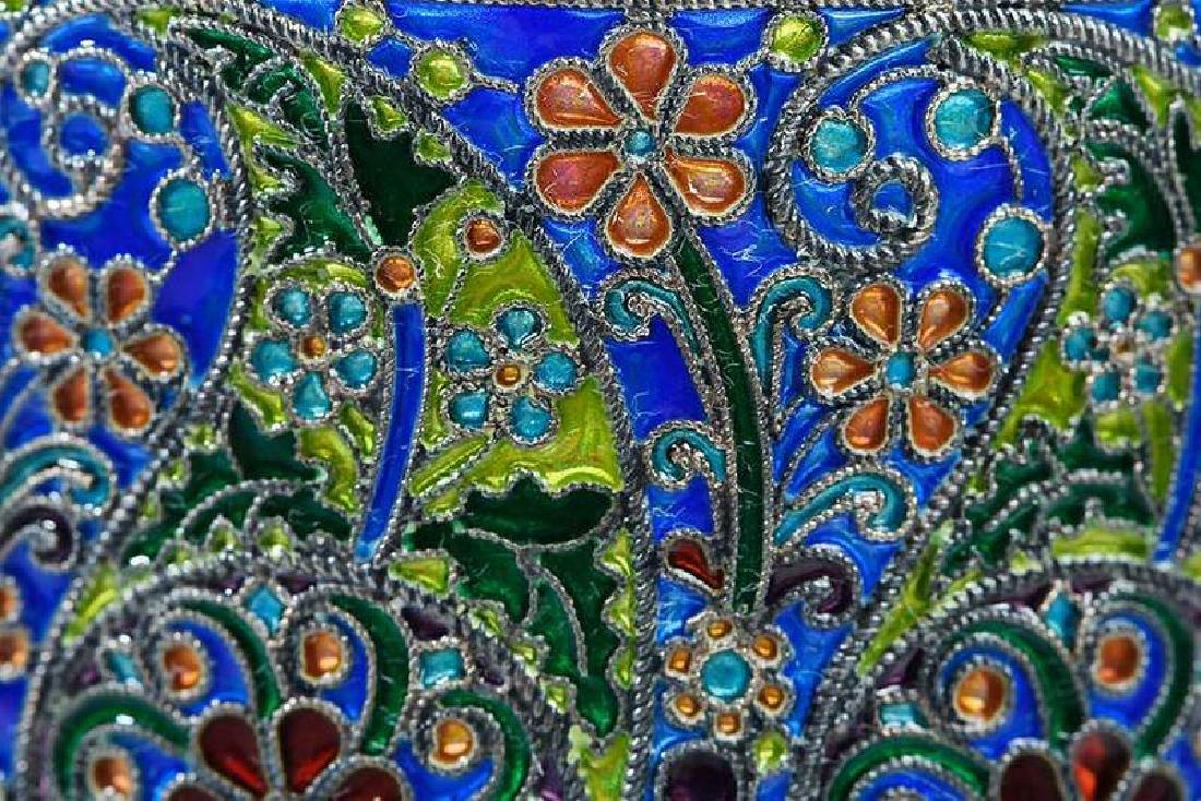 Ovchinnikov Russian Silver Plique-à-Jour Glass Holder - 7