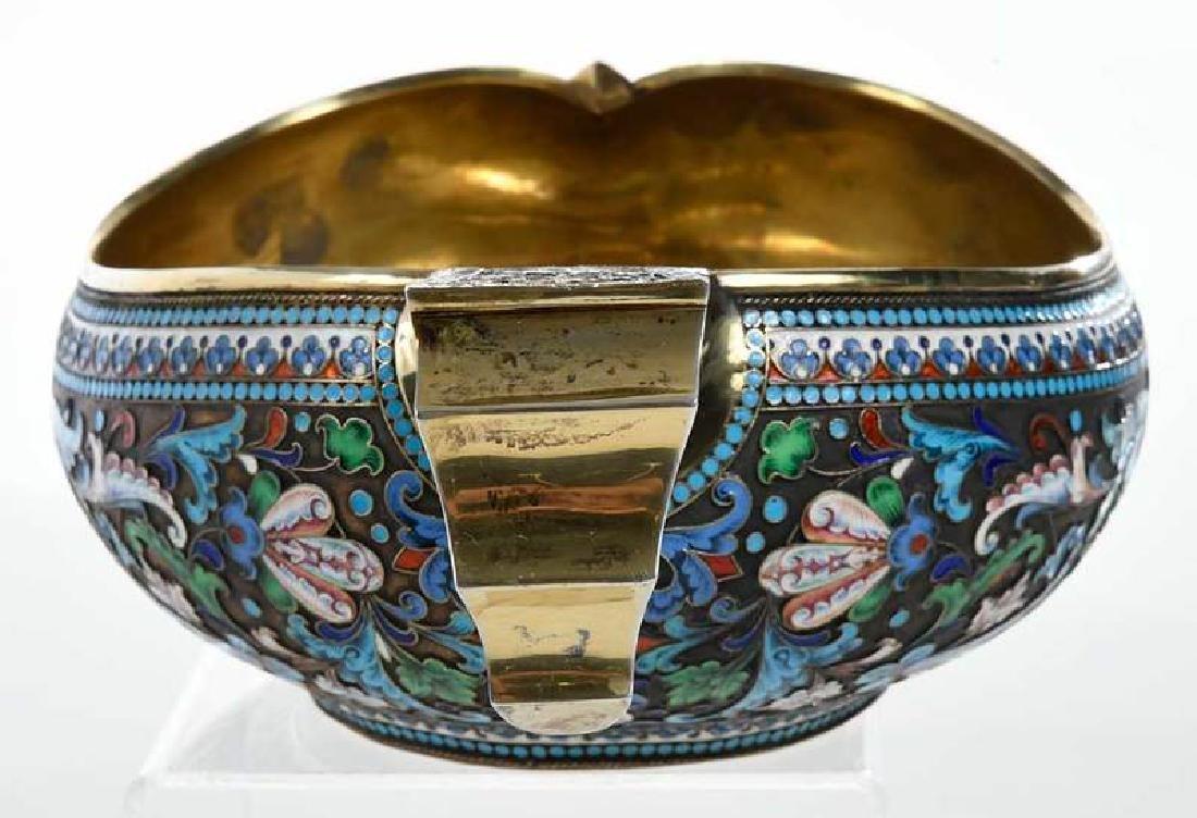 Large Russian Gilt Silver Champlevé Kovsh - 4