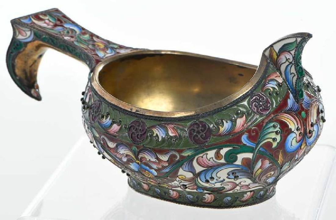 Russian Gilt Silver Champlevé Kovsh - 7