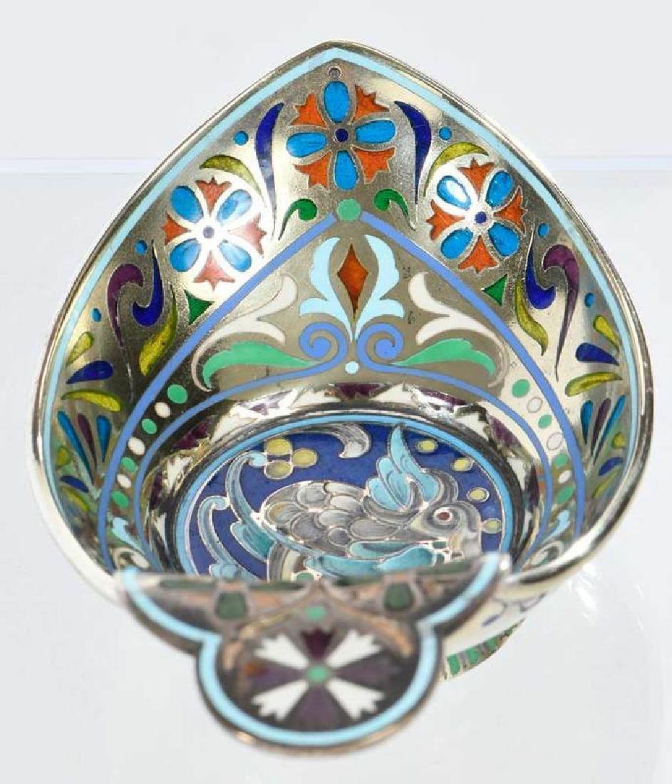 Russian Silver Plique-à-Jour Kovsh - 5