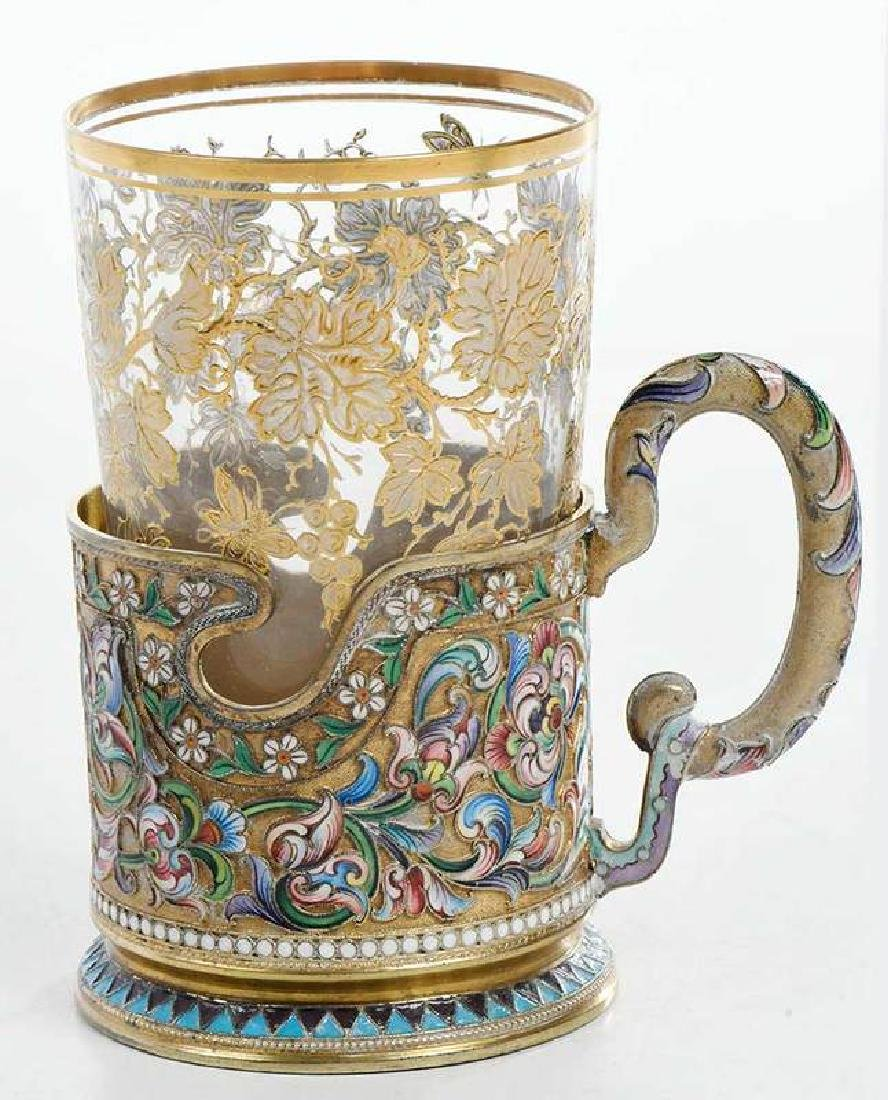 Russian Gilt Silver Champlevé Cup Holder with Glass - 2