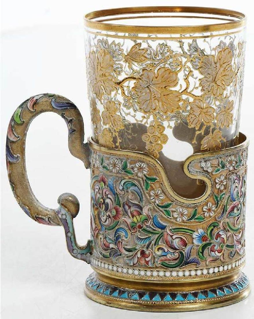 Russian Gilt Silver Champlevé Cup Holder with Glass - 4