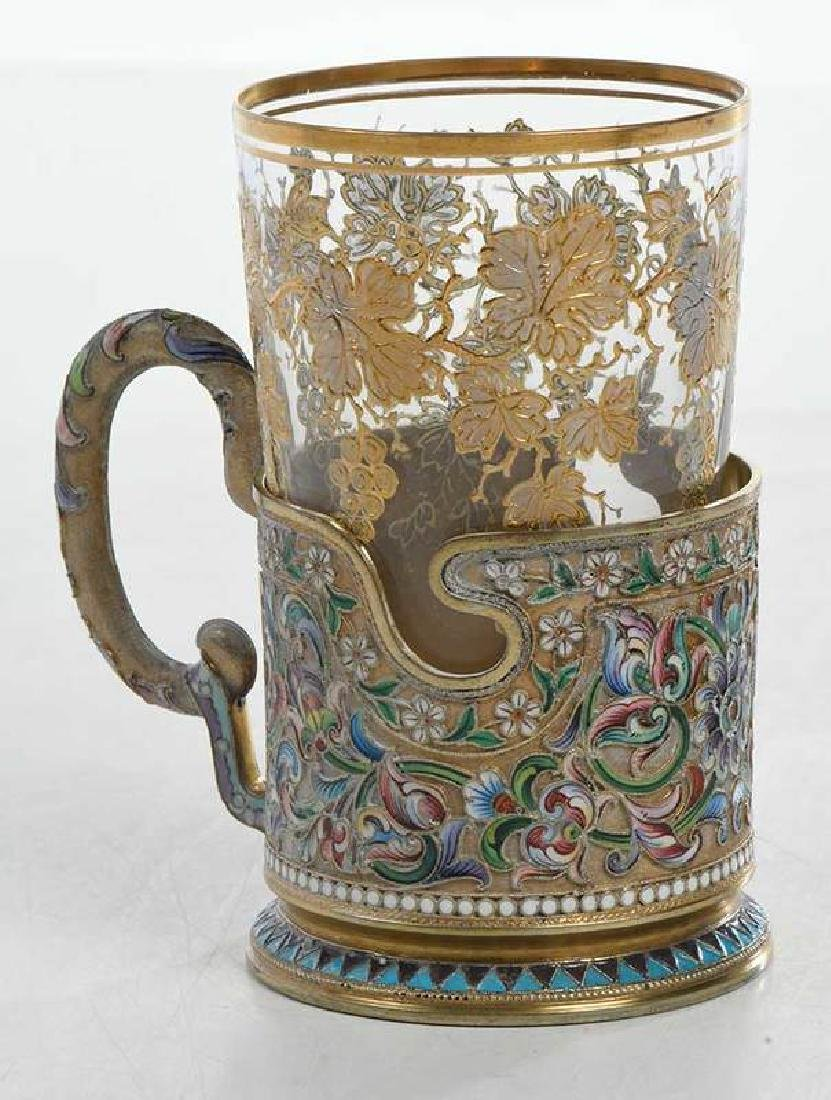 Russian Gilt Silver Champlevé Cup Holder with Glass - 5
