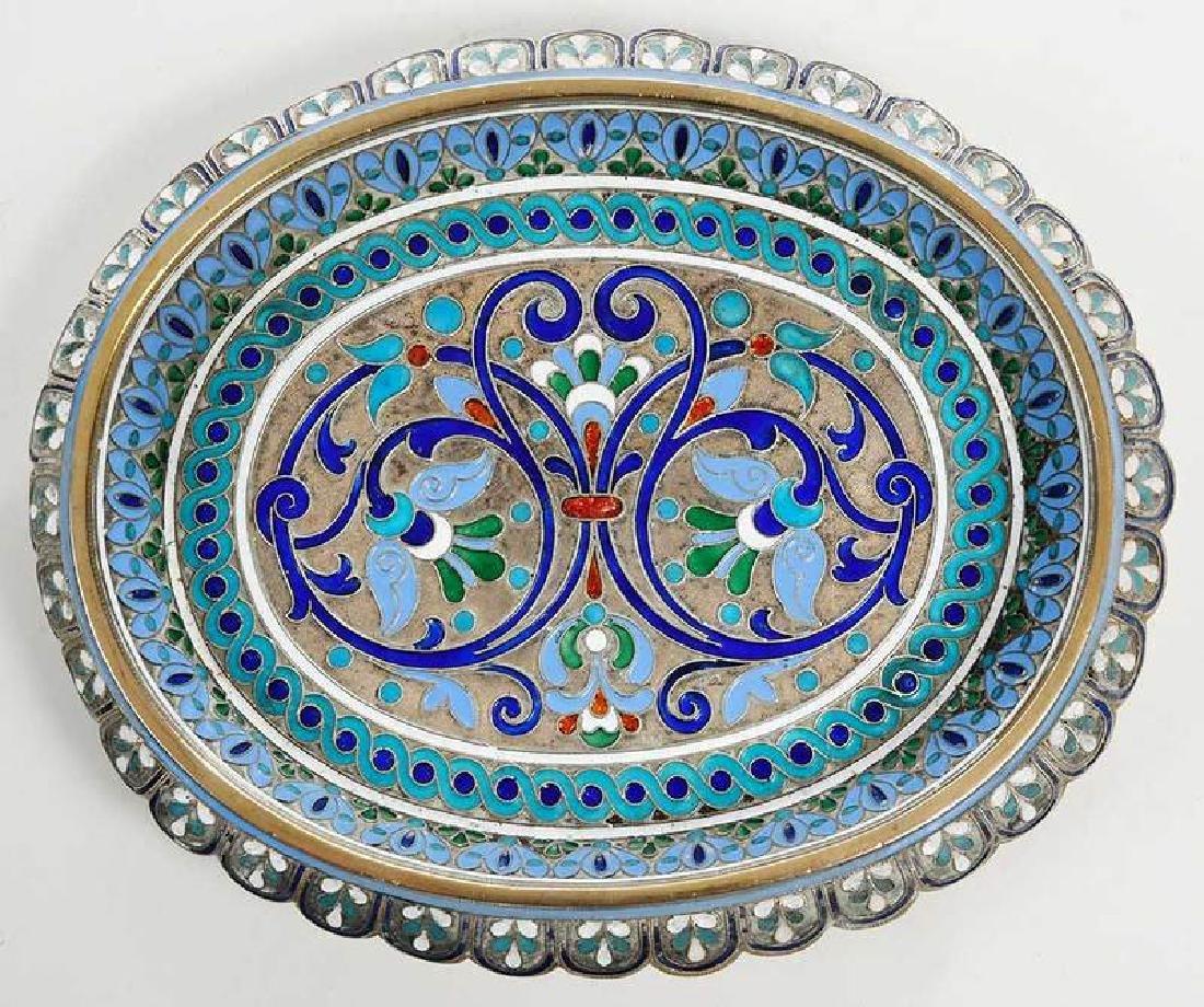 Russian Silver Champlevé Dish - 2
