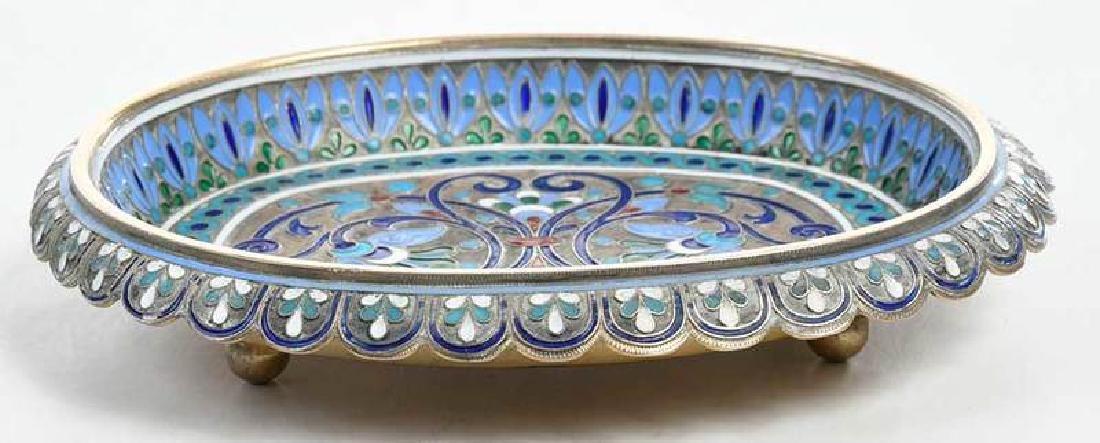 Russian Silver Champlevé Dish - 4