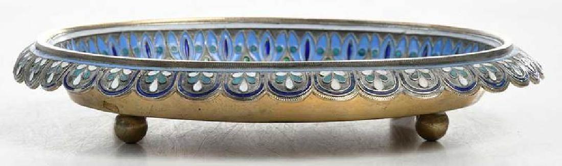 Russian Silver Champlevé Dish - 5