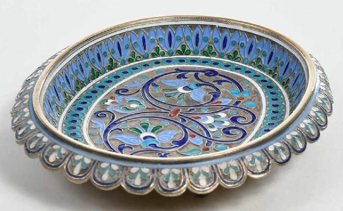 Russian Silver Champlevé Dish - 6