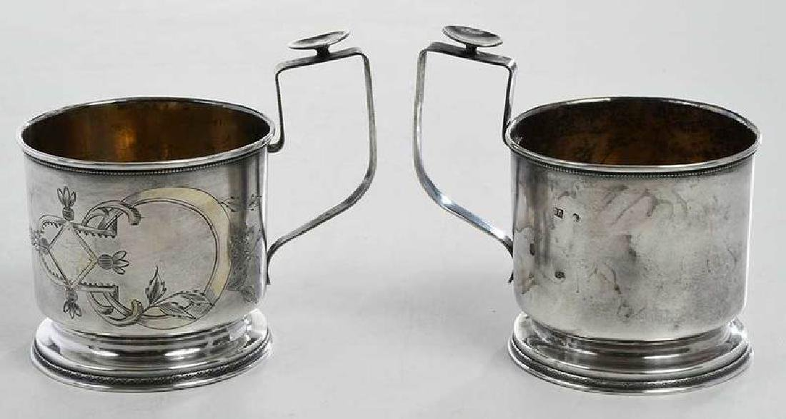 Two Russian Silver Cup Holders - 5