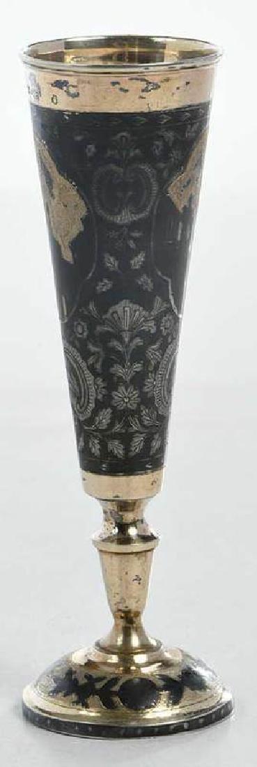 Russian Gilt Silver Niello Goblet - 2