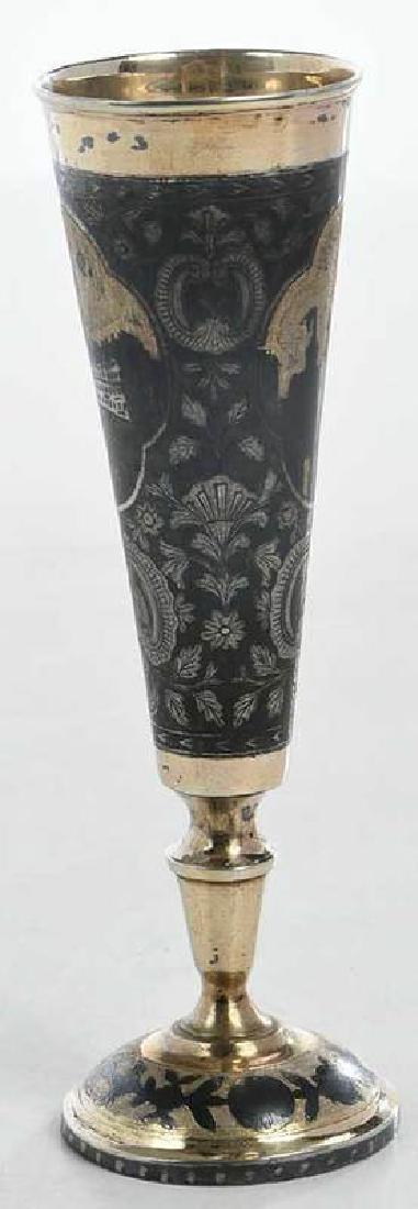 Russian Gilt Silver Niello Goblet - 4