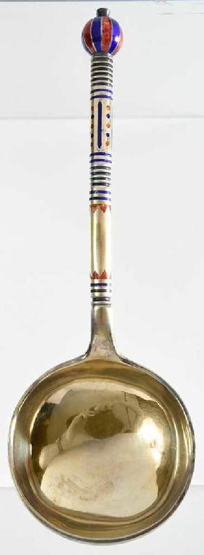 Russian Silver Enamel Spoon - 3