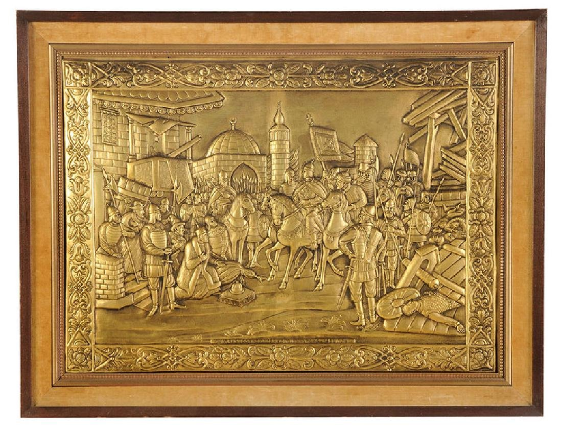 Large Russian Brass Relief Scene