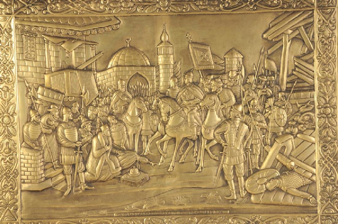 Large Russian Brass Relief Scene - 2