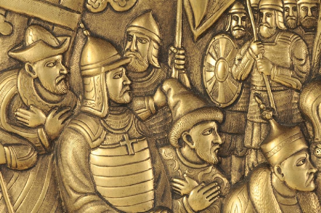 Large Russian Brass Relief Scene - 4
