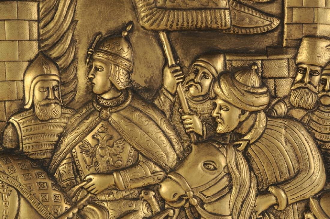 Large Russian Brass Relief Scene - 5
