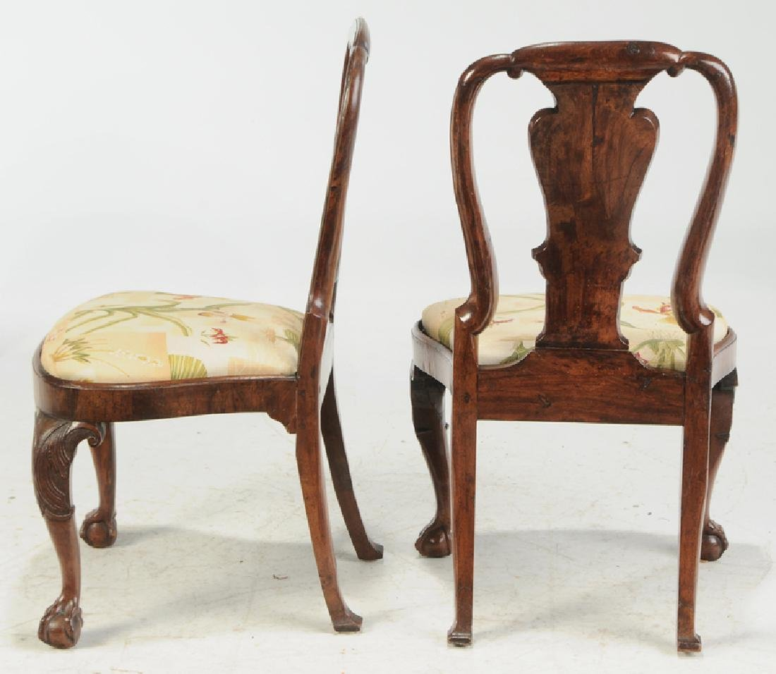 Set of Four George I Carved Walnut Side Chairs - 5