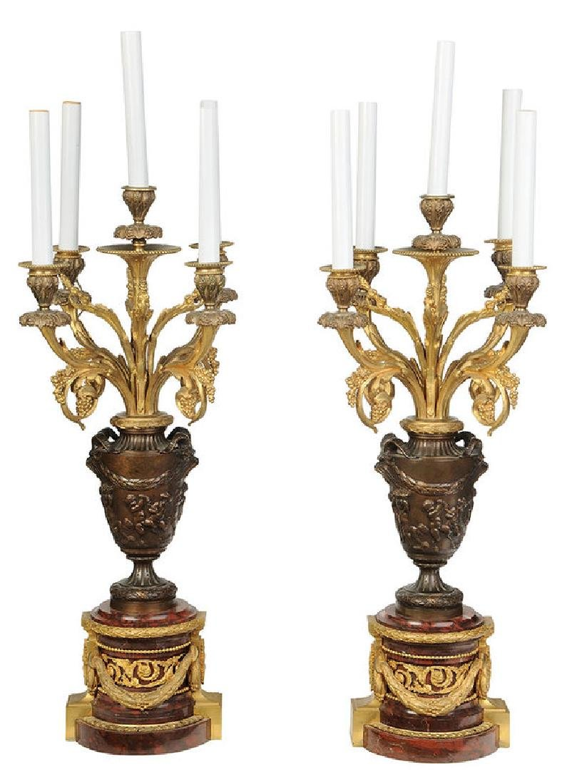 Pair Bronze and Marble Ormolu Lamps