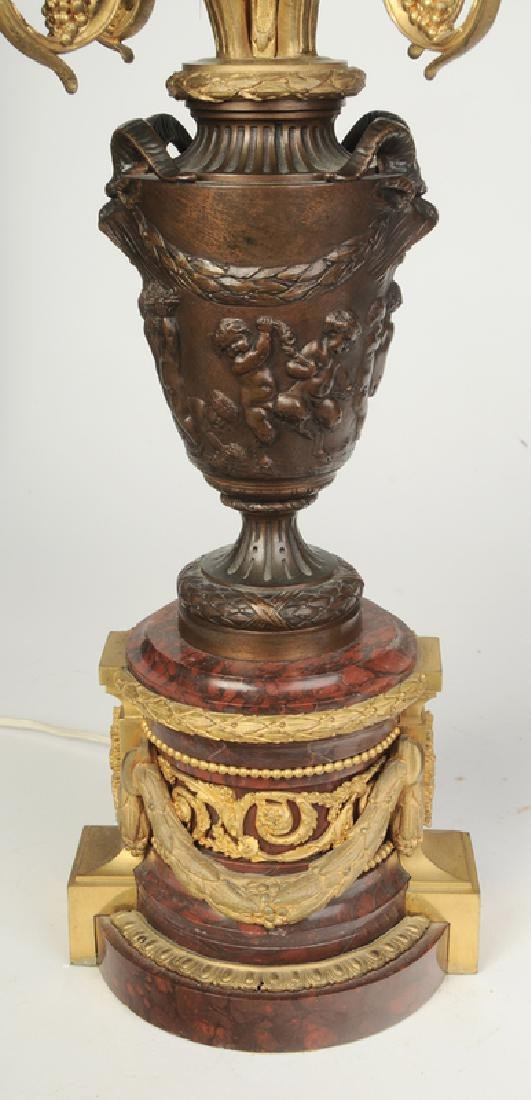 Pair Bronze and Marble Ormolu Lamps - 3