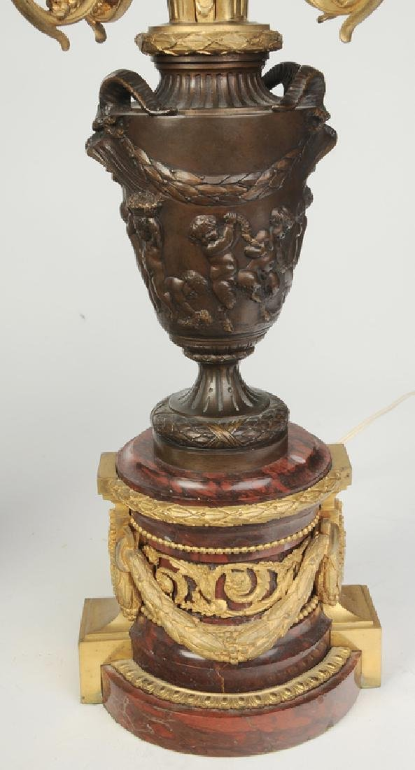 Pair Bronze and Marble Ormolu Lamps - 4