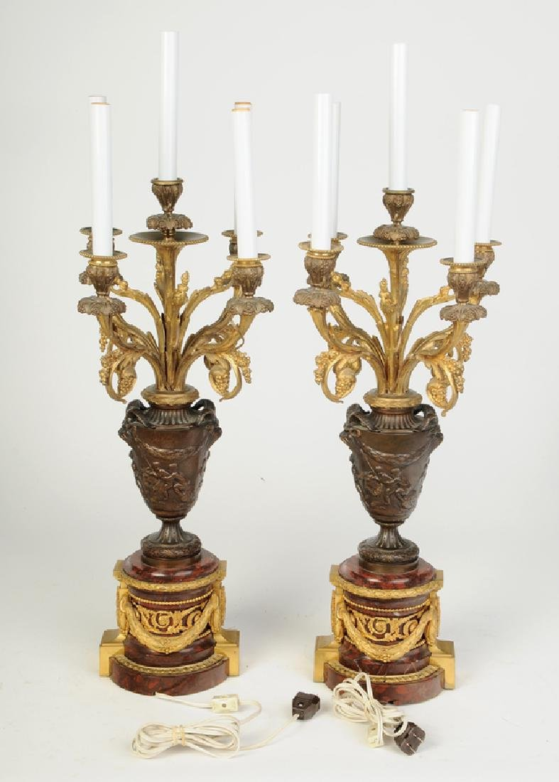 Pair Bronze and Marble Ormolu Lamps - 5